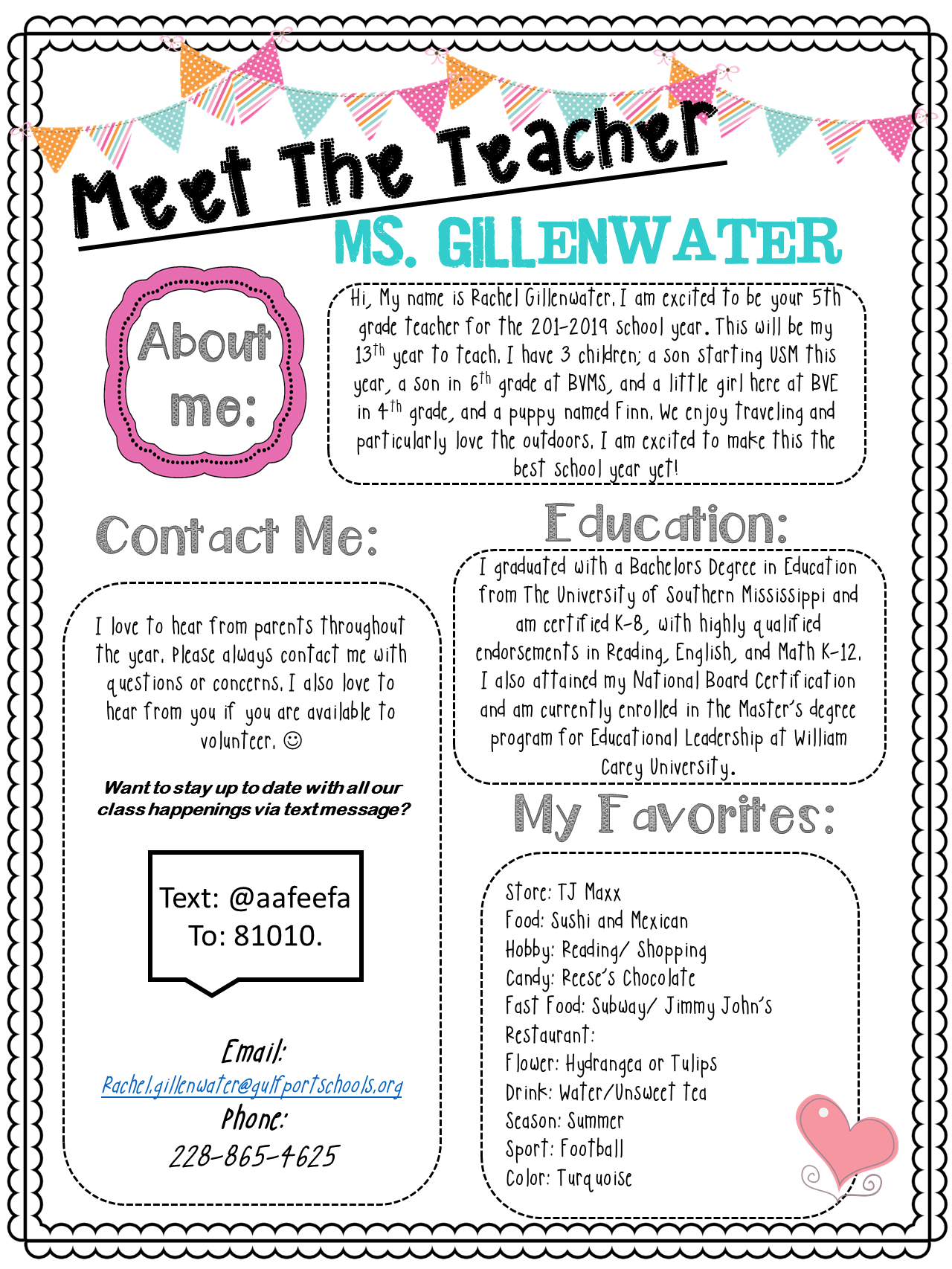 Gillenwater, Rachel - 5th Grade ELA/Social Studies / Teacher Page