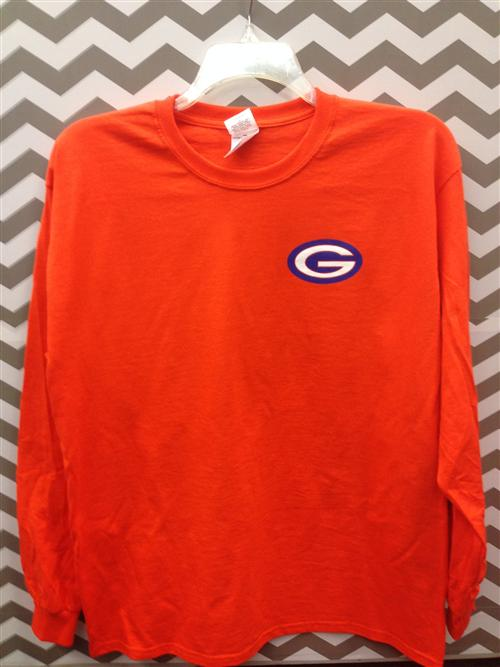 Orange long sleeve Gulfport G t shirt
