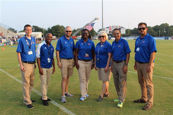 From left to right: Adam Tackitt, Donell Wilson, Jimi Brown, DeeDee Pitts, Susan Schuman, Cameron Jenkins, Westley Morehead